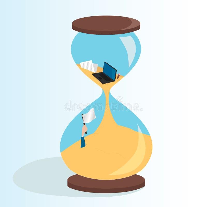 Mężczyzny słabnięcie w sandglass deadline Projekta plan Czasu zarządzania biznesu pojęcie ilustracja wektor