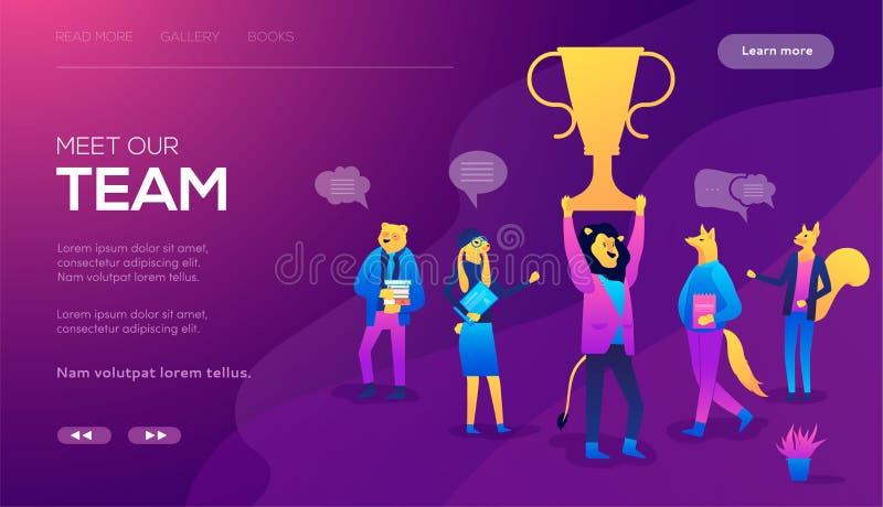 Mężczyzny stojak Na zdobywca nagrody filiżance, biznesmeni Grupuje gratulowanie sukcesu pojęcie ilustracja wektor