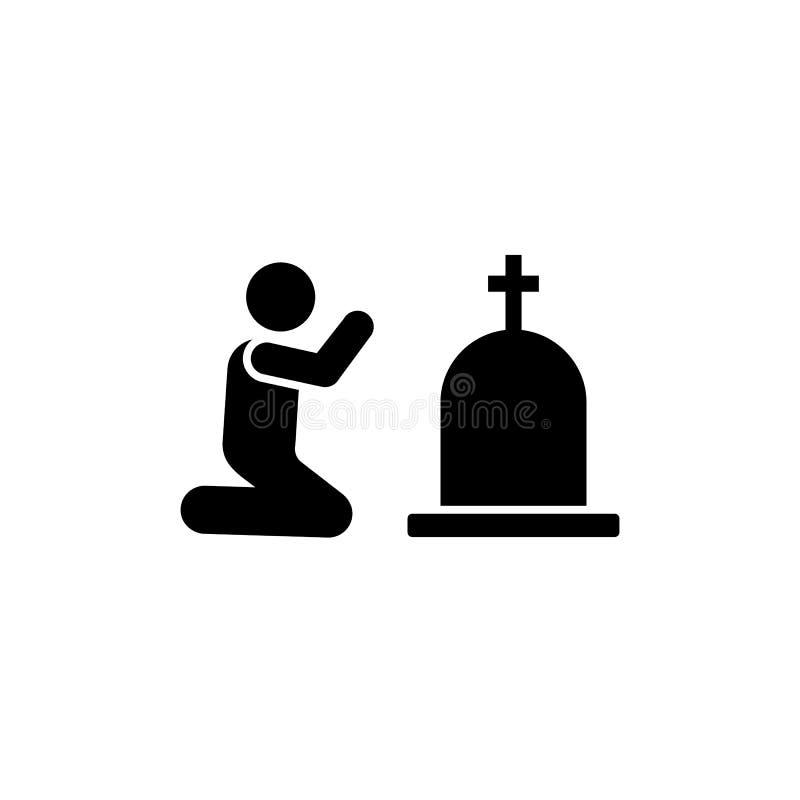 Mężczyzny trumienny pogrzeb płacze stroskanie ikonę Element piktogram śmierci ilustracja ilustracji