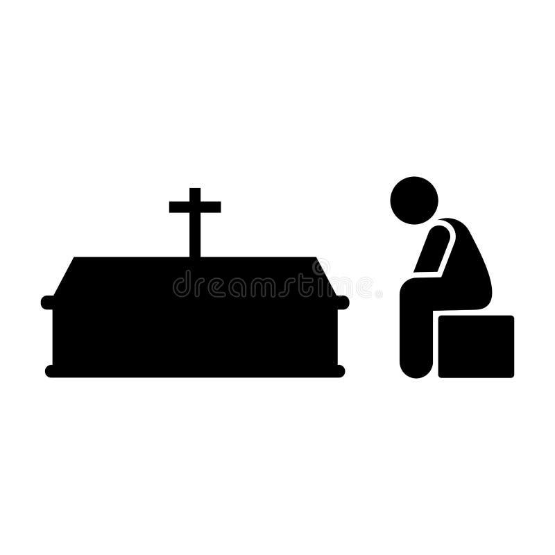 Mężczyzny trumienny stroskanie płacze ikonę Element piktogram śmierci ilustracja ilustracji