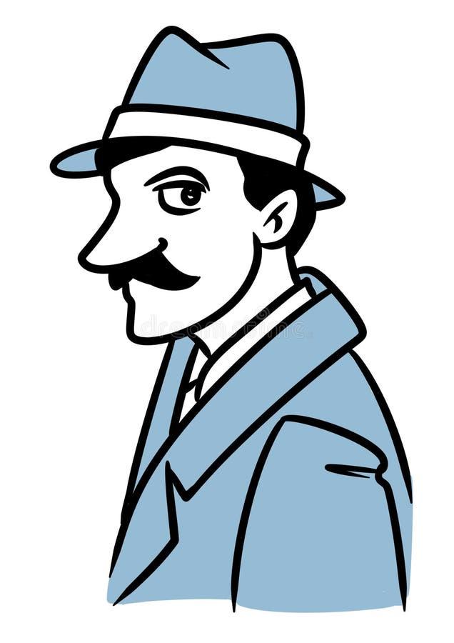 Mężczyzny wąsy portreta charakteru kreskówki smutna ilustracja royalty ilustracja
