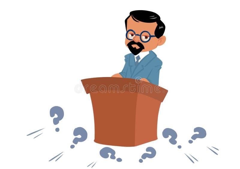 Mężczyzny wykładowcy naukowa trybuny pytania ilustracja ilustracja wektor