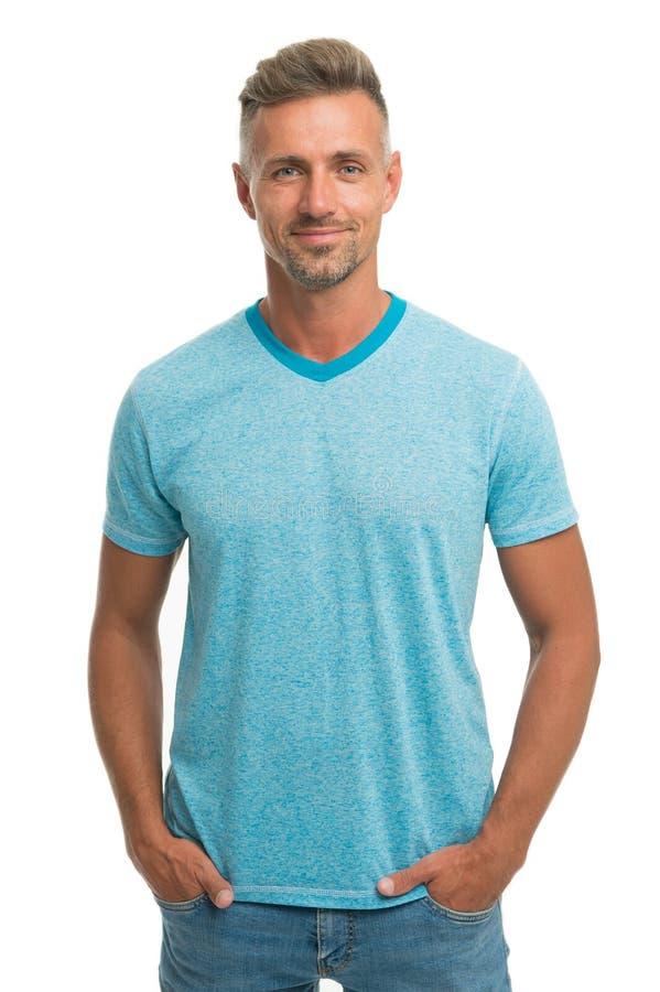 Mężczyzny wzorcowy odzieżowy sklep Menswear i modna odzież Mężczyzny spokoju twarz pozuje pewnie białego tło M??czyzna spojrzenia obraz royalty free