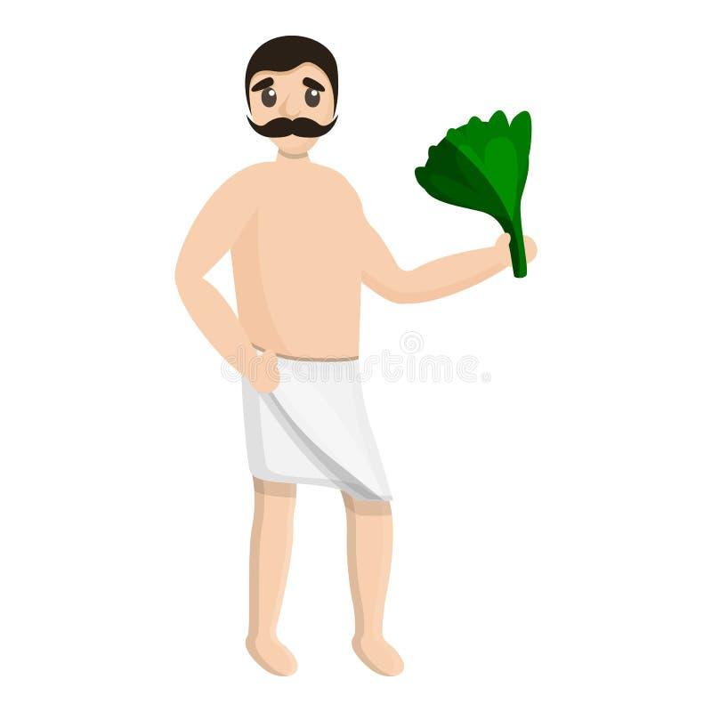 Mężczyzny zdroju ręcznika zieleni gałąź ikona, kreskówka styl royalty ilustracja