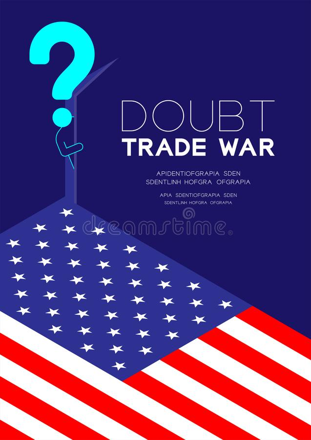 Mężczyzny znak zapytania i piktogram otwieramy drzwi ciemny pokój z isometric Ameryka flagi wzorem, Wątpimy wojnę handlową i opod ilustracji