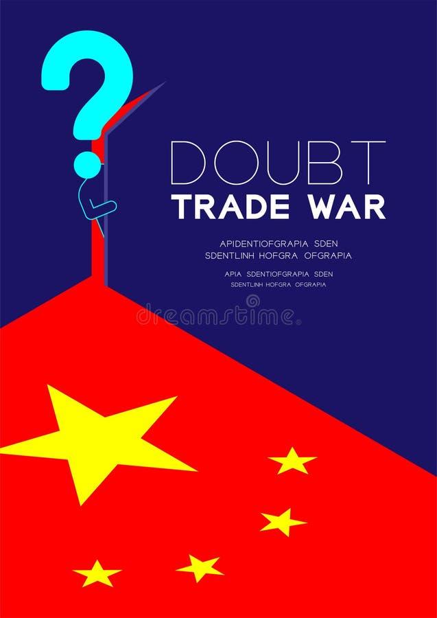 Mężczyzny znak zapytania i piktogram otwieramy drzwi ciemny pokój z isometric Chiny flagi wzorem, Wątpimy wojnę handlową i opodat ilustracja wektor