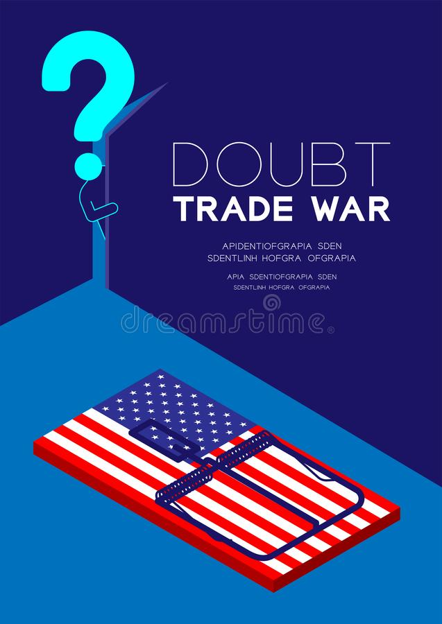 Mężczyzny znak zapytania i piktogram otwieramy drzwi ciemny pokój z isometric Mousetrap Ameryka flagi wzorem, wątpliwości wojny h royalty ilustracja