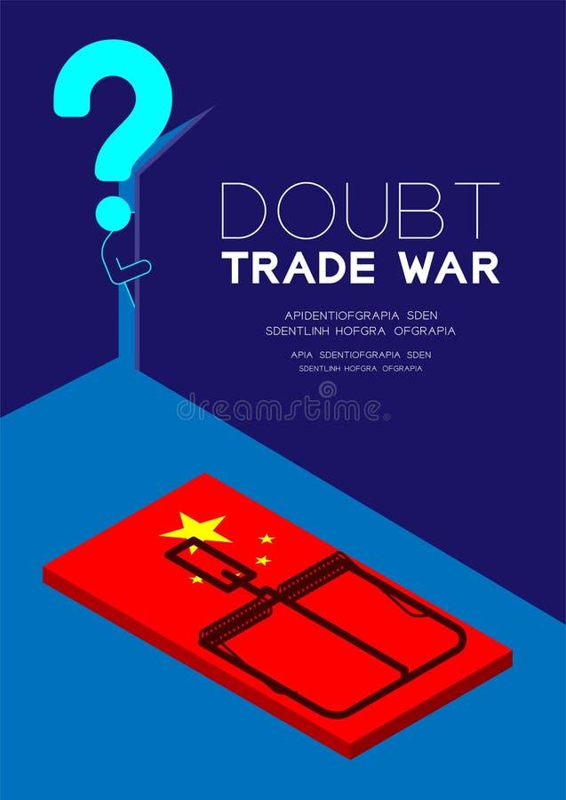 Mężczyzny znak zapytania i piktogram otwieramy drzwi ciemny pokój z isometric Mousetrap Chiny flagi wzorem, wątpliwości wojny han ilustracja wektor