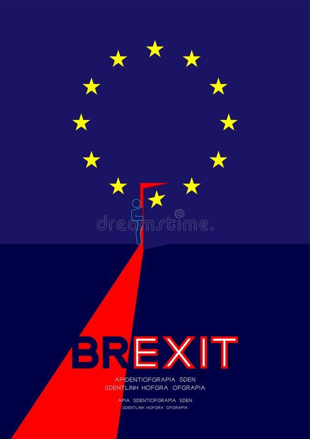 Mężczyzny znak zapytania i piktogram otwieramy drzwi na isometric unii europejskiej UE flagi wzorze, Brexit pojęcia projekta ilus ilustracja wektor