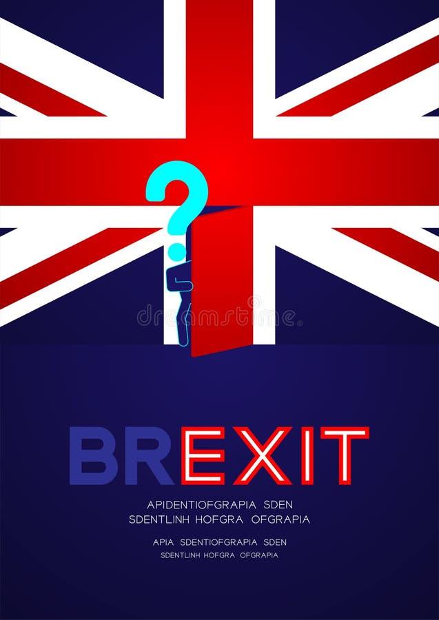 Mężczyzny znak zapytania i piktogram otwieramy drzwi na zlanym królestwo flagi wzorze, Brexit pojęcia projekta ilustracja odizolo royalty ilustracja