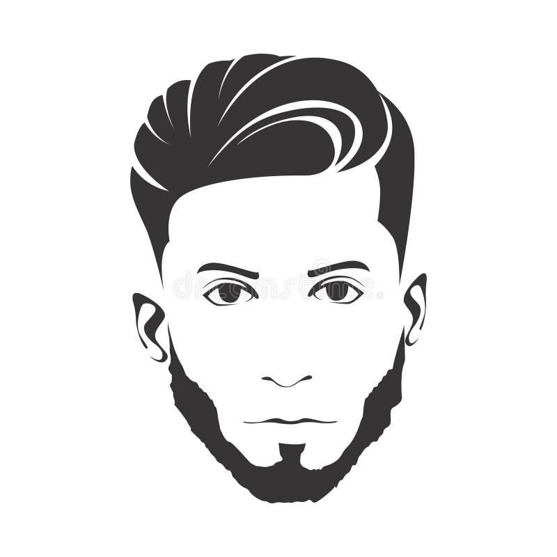MĘŻCZYZNA mody fryzury ostrzyżenie Z brodą royalty ilustracja