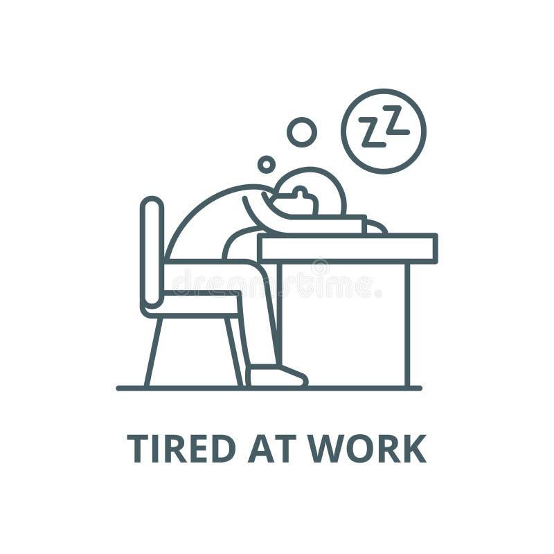 Męczący przy praca wektoru linii ikoną, liniowy pojęcie, konturu znak, symbol ilustracja wektor