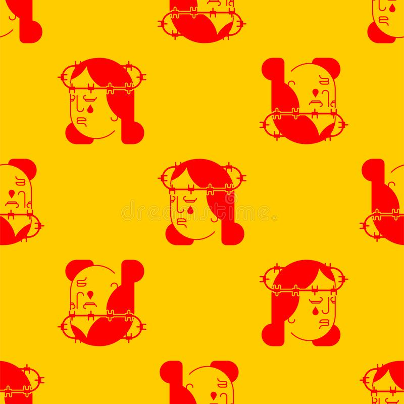 Męczennika deseniowy bezszwowy Drut kolczasty na głowie Ból i cierpienie royalty ilustracja