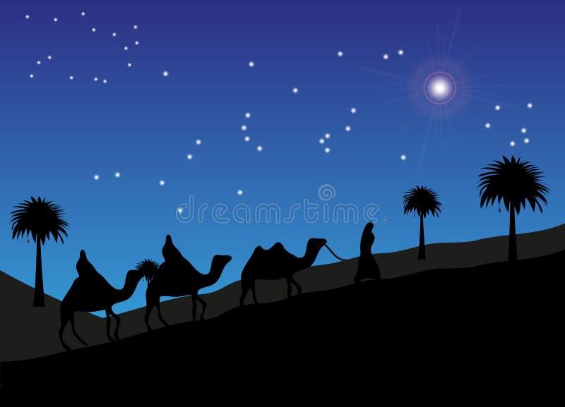 Mędrzec Podąża gwiazdę Betlejem ilustracji