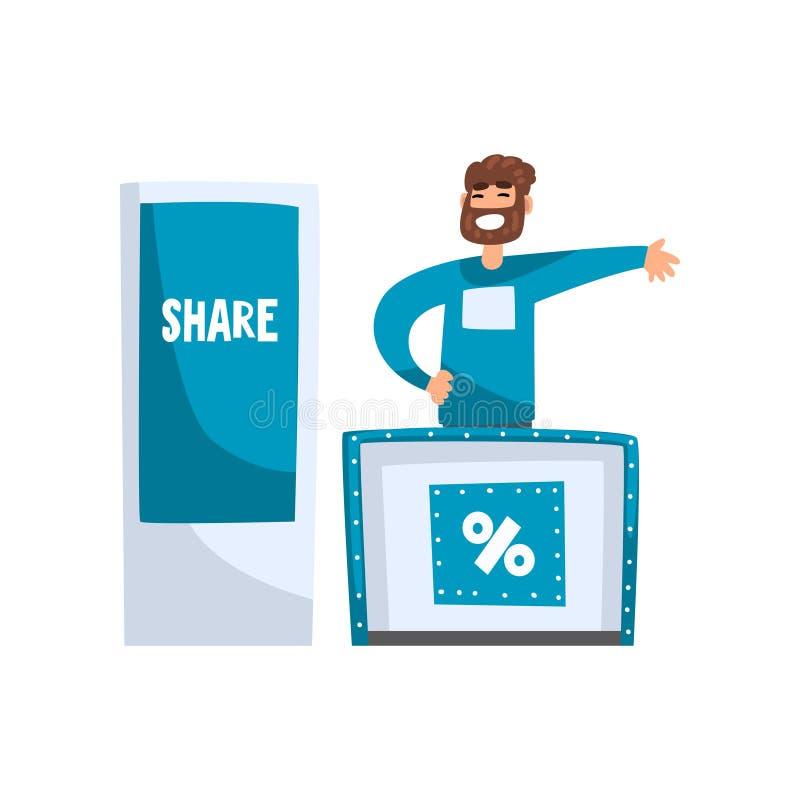 Męscy advertiser, organizatora charakteru reklamowi produkty lub lub ilustracja wektor