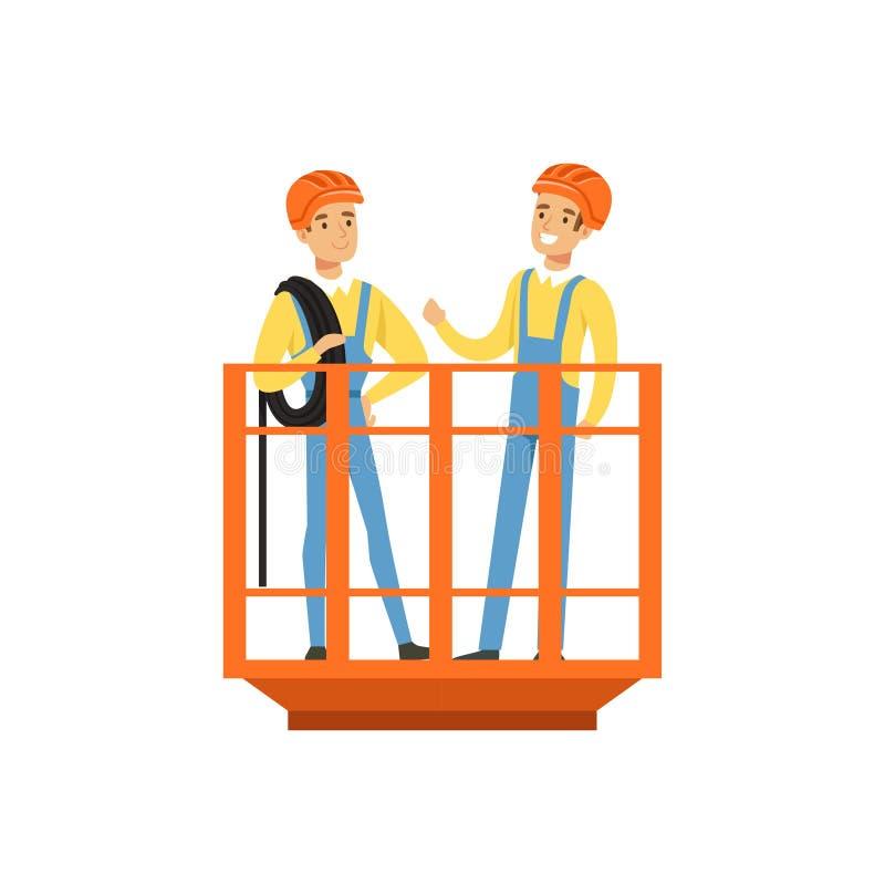 Męscy górnicy w jednolitej pozyci w kopalnianym dźwignięciu, fachowi górnicy przy pracą, coalmining przemysłu wektoru ilustracja royalty ilustracja