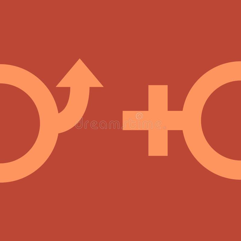 Męscy i żeńscy rodzajów symbole ilustracja wektor