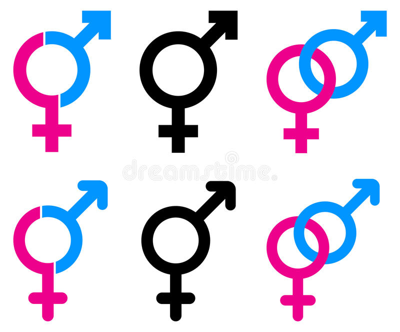 Męscy i żeńscy symbole royalty ilustracja