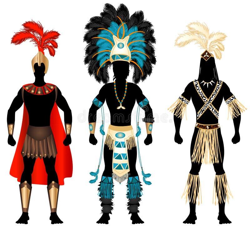 męscy karnawałowi kostiumy ilustracji