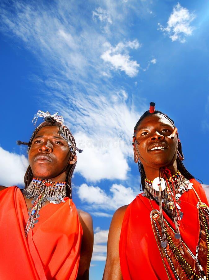 męscy Mara masai portreta wojownicy zdjęcie royalty free
