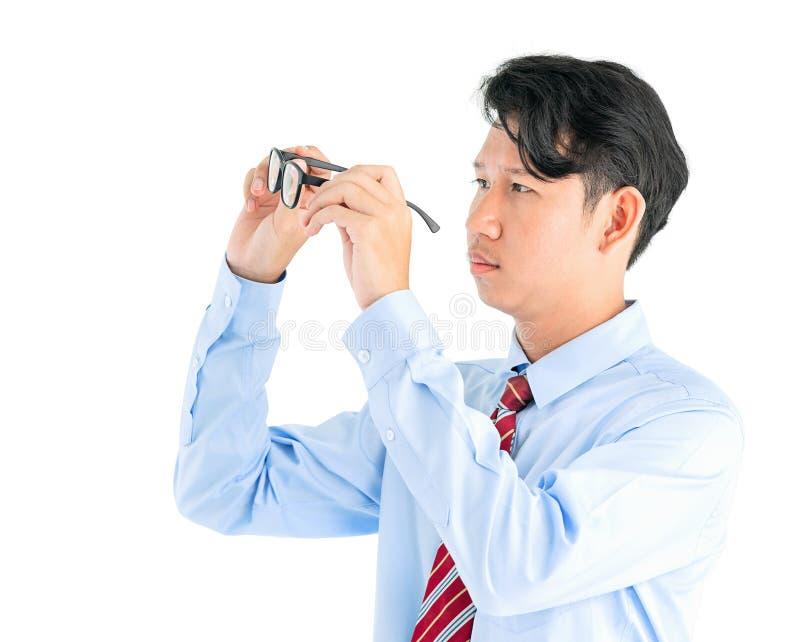 Męscy mień eyeglasses odizolowywający na bielu fotografia stock