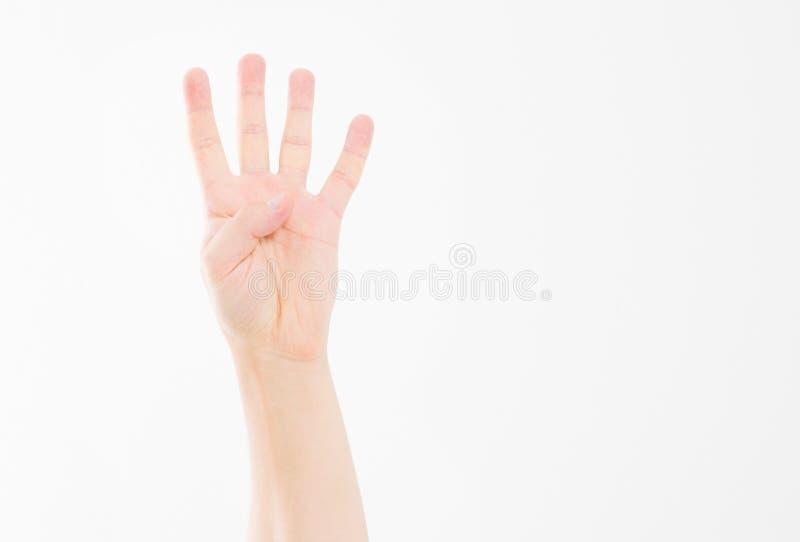 Męscy ręk przedstawienia cztery palca gest caucasian ręka Egzamin próbny Up kosmos kopii szablon blank fotografia stock