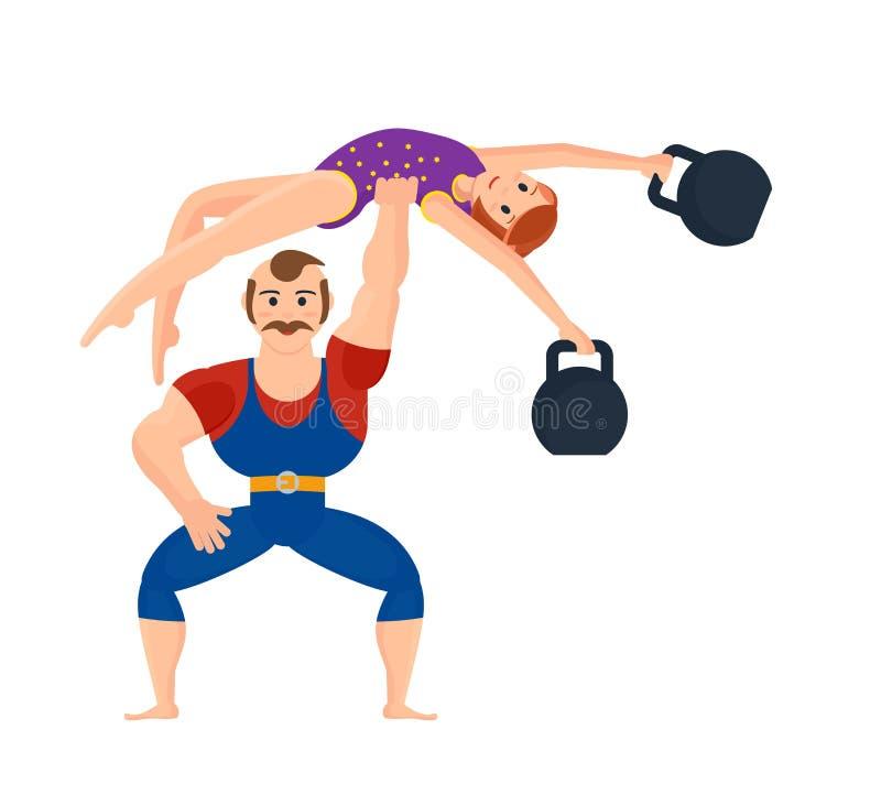 Męska atleta, pokazuje siłę ćwiczy trzymać gimnastyczki dziewczyny ilustracji