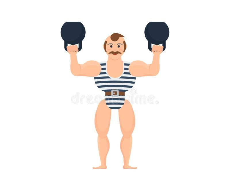 Męska atleta zabawia, śmieszy, widowni, pokazuje sił ćwiczenia z dumbbells royalty ilustracja