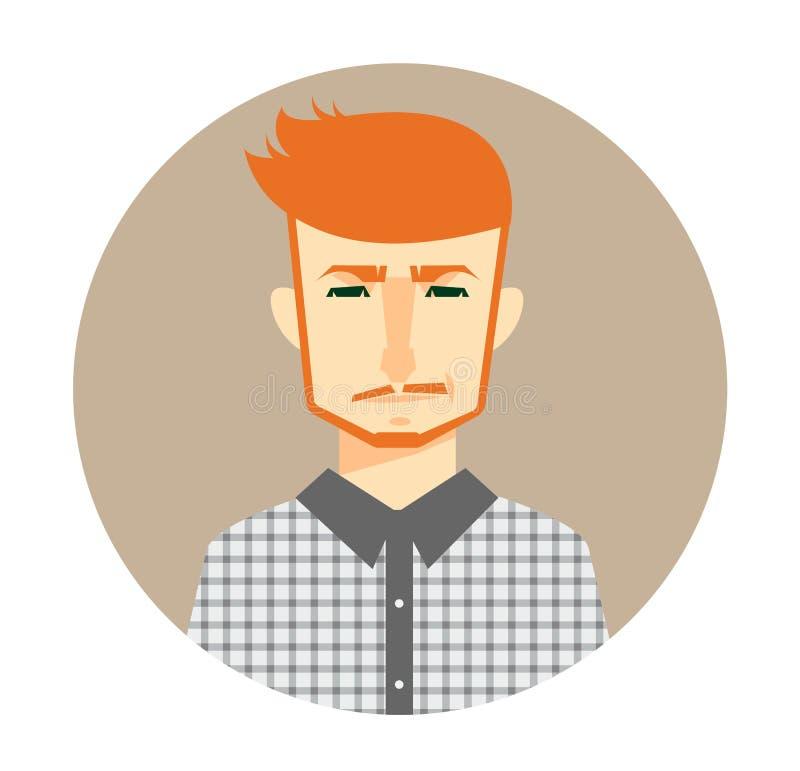 Męska avatar ikona w mieszkanie stylu Męska użytkownik ikona Kreskówka mężczyzna avatar royalty ilustracja