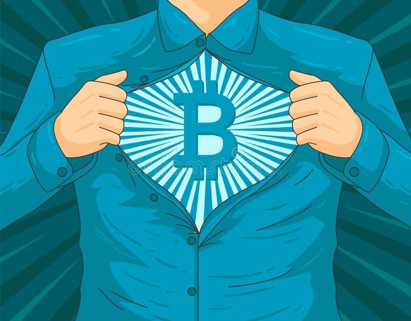 Męska blockchain BTC bohatera wektoru ilustracja zdjęcia royalty free