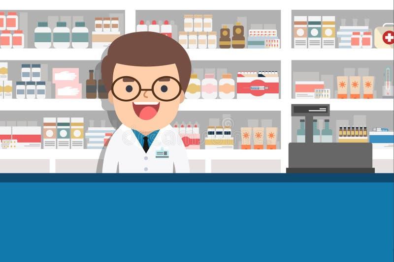 Męska farmaceuta przy kontuarem w aptece ilustracji