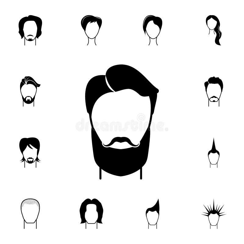 męska fryzury i brody ikona Szczegółowy set fryzury przy fryzjer ikonami Premii ilości graficznego projekta ikona Jeden th royalty ilustracja