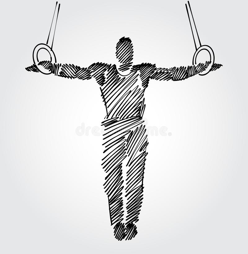 Męska gimnastyczka z otwartym ręki mieniem załatwiał trwanie pozycję obraz royalty free