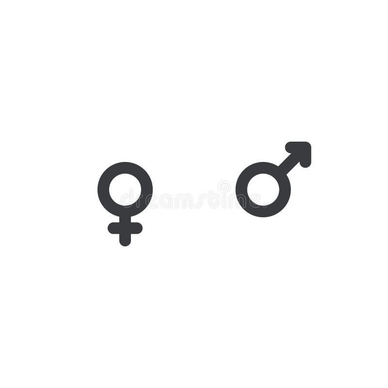 Męska i żeńska rodzaj ikona, Wektorowa ikona Mężczyzna i kobiet symbol Chłopiec i dziewczyny znak Płeć symbol Toaletowy druk ilustracji