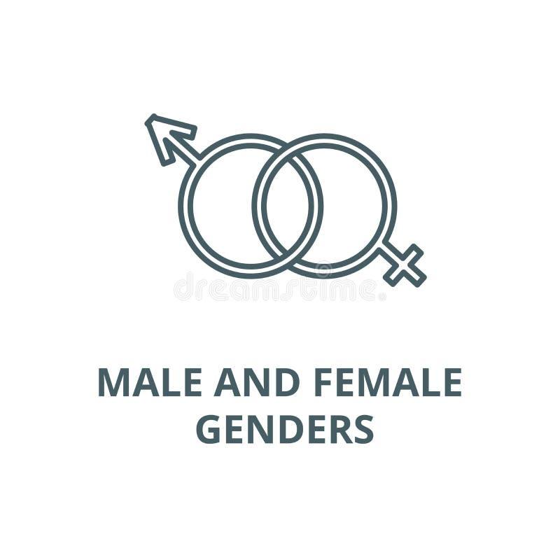 Męska i żeńska rodzaju wektoru linii ikona, liniowy pojęcie, konturu znak, symbol royalty ilustracja