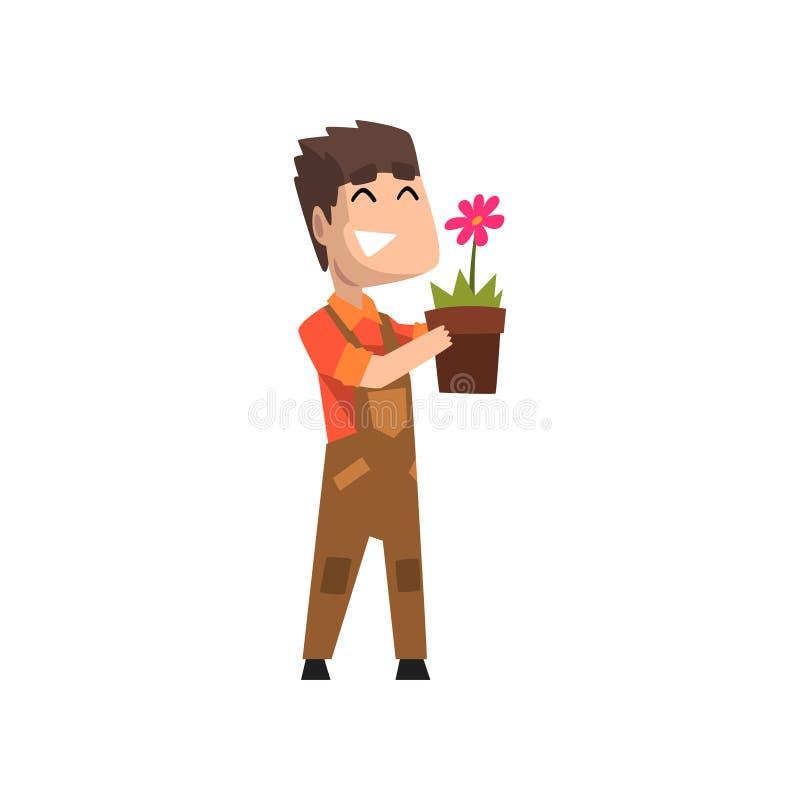 Męska kwiaciarni mienia flowerpot, hobby lub zawodu wektorowa ilustracja na białym tle, ilustracji