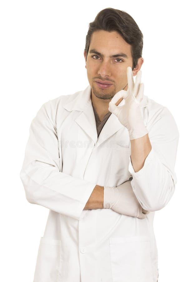 Męska lab badacza technika naukowa lekarka zdjęcie royalty free