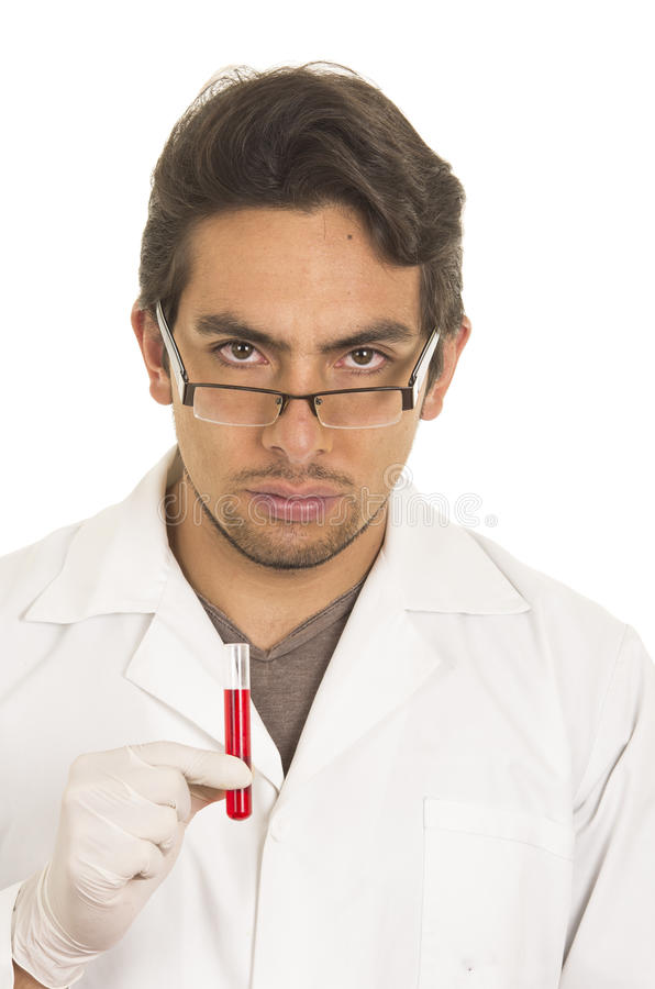 Męska lab badacza technika naukowa lekarka fotografia stock