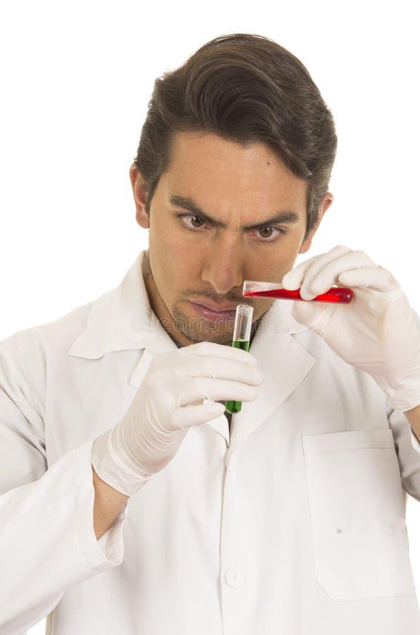 Męska lab badacza technika naukowa lekarka zdjęcia stock