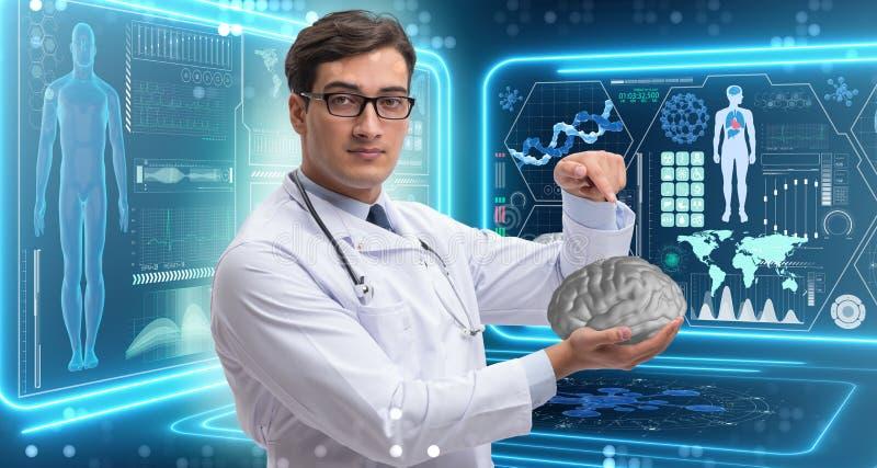 Męska lekarka z mózg w medycznym pojęciu obrazy royalty free
