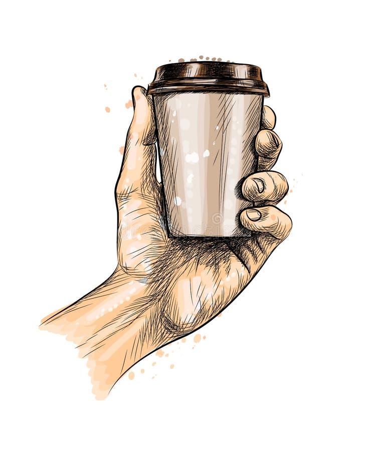 Męska ręka trzyma kawową papierową filiżankę ilustracji