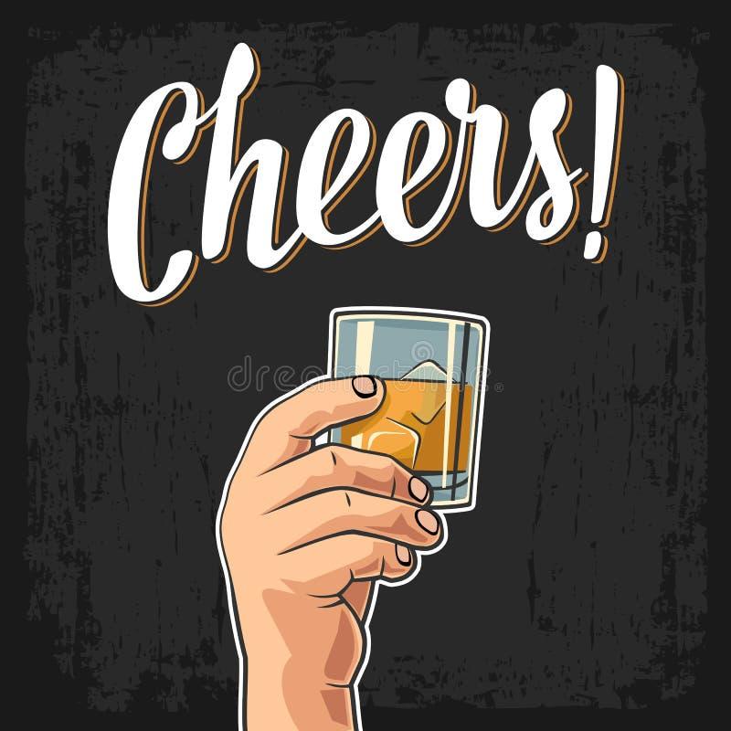 Męska ręka trzyma szkło z whisky i kostkami lodu Rocznika rytownictwa ilustracja dla etykietki, plakat, zaproszenie norma ilustracja wektor