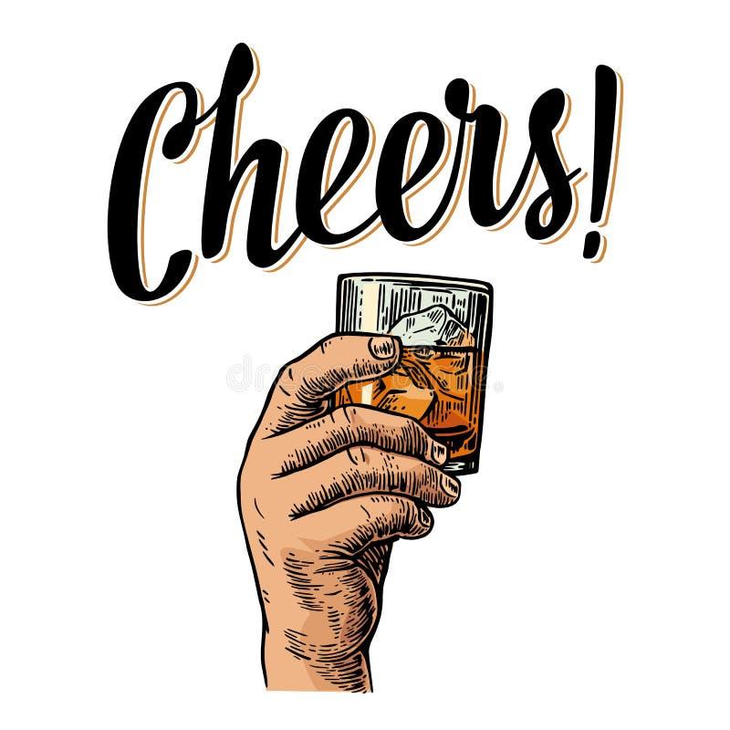 Męska ręka trzyma szkło z whisky i kostkami lodu Rocznika rytownictwa wektorowa ilustracja dla etykietki, plakat royalty ilustracja