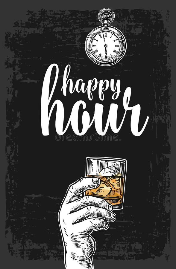 Męska ręka trzyma szkło z whisky i kostkami lodu Rocznika rytownictwa wektorowa ilustracja dla etykietki, plakat, menu royalty ilustracja