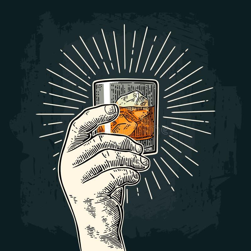 Męska ręka trzyma szklanego whisky z promieniem Rocznika wektorowy rytownictwo ilustracja wektor