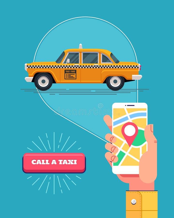 Męska ręka trzyma telefon z działającym zastosowaniem dzwonić taxi Jawna taxi usługa Retro żółty taxicab wektor royalty ilustracja