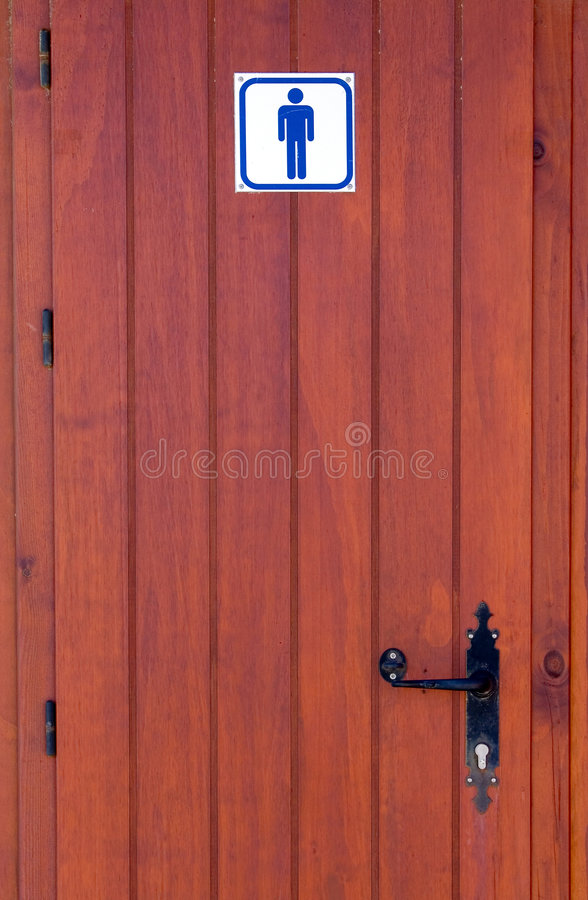 męska toaleta drewniane drzwi ilustracji