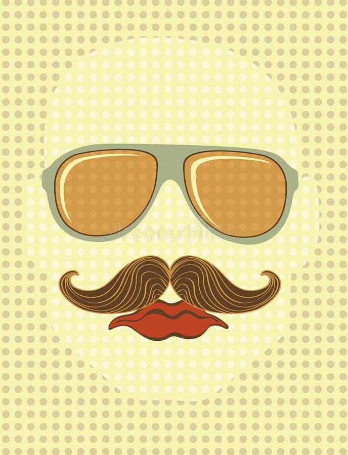 Męska twarz z okulary przeciwsłoneczne i wąsy ilustracji