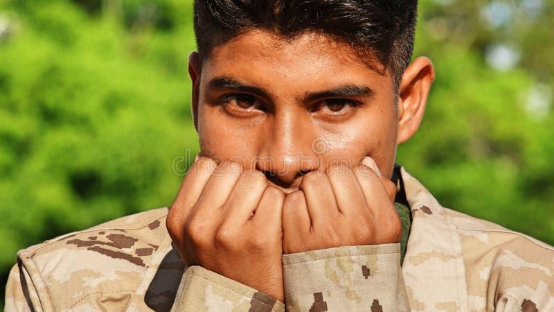 Męski żołnierz I strach obrazy stock