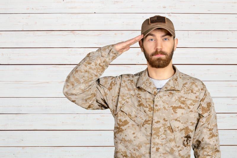 Męski żołnierza salutować obrazy royalty free